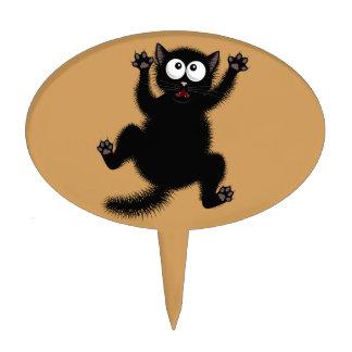 Funny Cute Black Scared Cartoon Cat, kitten Cake Topper