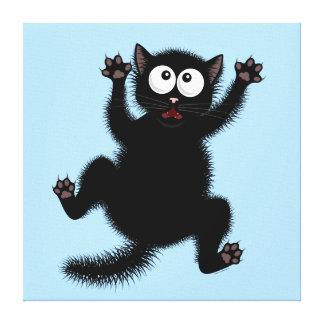 Funny Cute Black Scared Cartoon Cat, kitten Canvas Print