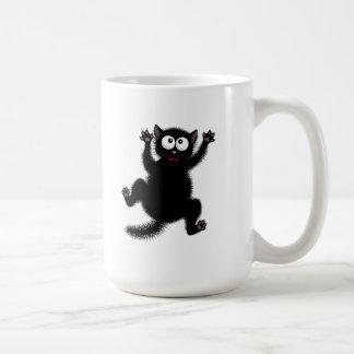 Funny Cute Black Scared Cartoon Cat, kitten Coffee Mug