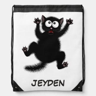 Funny Cute Black Scared Cartoon Cat, kitten Drawstring Bag