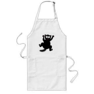Funny Cute Black Scared Cartoon Cat, kitten Long Apron