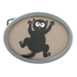Funny Cute Black Scared Cartoon Cat, kitten Oval Belt Buckle