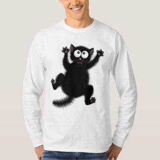 Funny Cute Black Scared Cartoon Cat, kitten T-Shirt