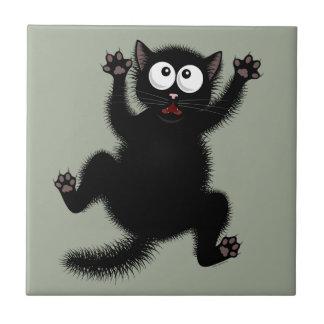 Funny Cute Black Scared Cartoon Cat, kitten Tile