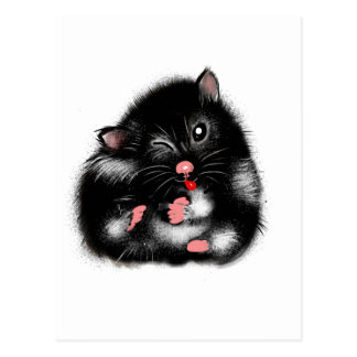 Funny cute black white syrian hamster gifts postcard