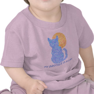 Funny Cute Blue Cat My Brother Is A Cat Shirt