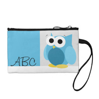 Funny Cute Blue Owl Personalized Key Coin Clutch