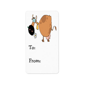 funny cute brown moo cow cartoon label