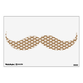 Funny cute brown mustaches pattern wall sticker