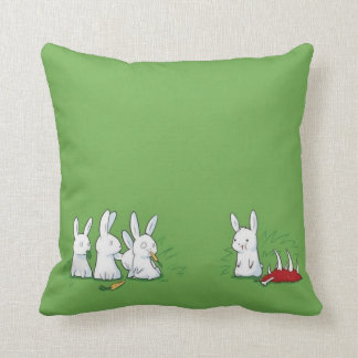 Funny Cute Bunny Eating Meat Throw Pillow
