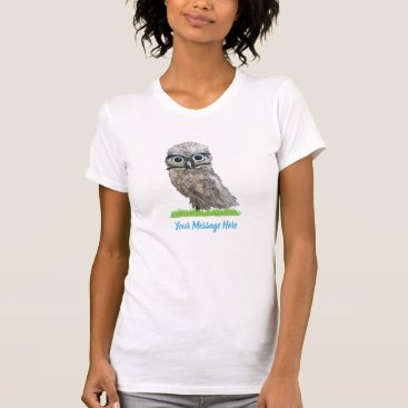 Beach Themed Funny Cute Burrowing Owl in Silver and Blue T-Shirt