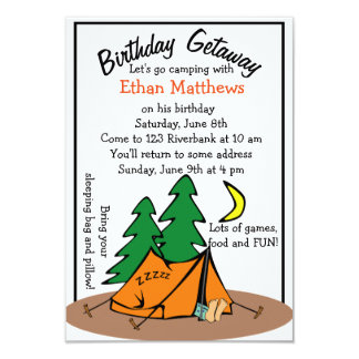 Funny Cute Camp Out Birthday Party Invitations