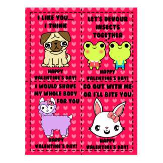 Funny cute cartoon animal valentines postcard