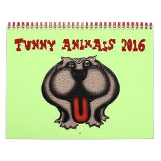 Funny Cute Cartoon Animals 2016 Calendar at Zazzle