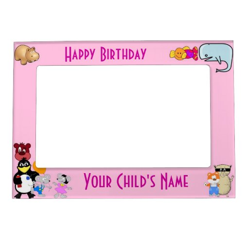 Funny cute cartoon animals on pink photo frame magnets