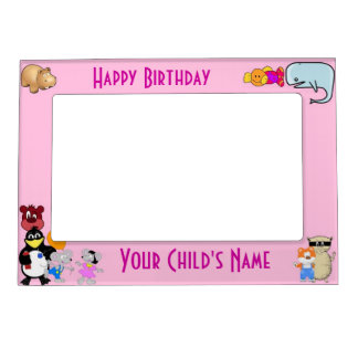 Funny cute cartoon animals on pink magnetic photo frame
