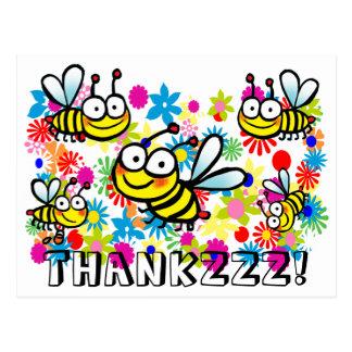 funny cute cartoon bees thank you postcard