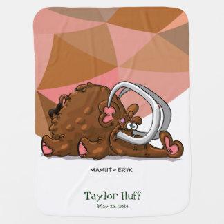 Funny Cute Cartoon Brown Boar Swaddle Blankets