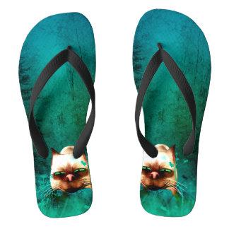Funny, cute cartoon cat flip flops