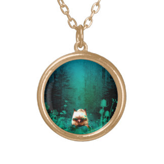 Funny, cute cartoon cat in the green wood gold plated necklace