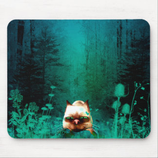 Funny, cute cartoon cat in the green wood mouse pad