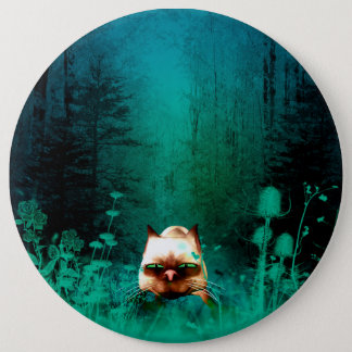 Funny, cute cartoon cat in the green wood pinback button