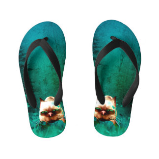 Funny, cute cartoon cat kid's flip flops