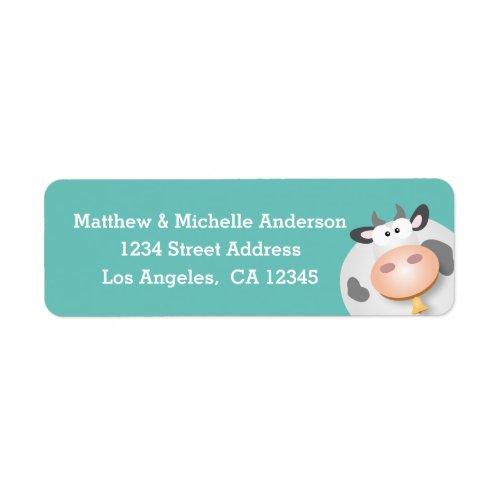 Funny Cute Cartoon Cow Address Label
