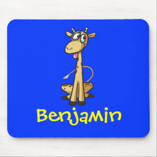 Funny Cute Cartoon Giraffe Personalized Name Gift Mouse Pad