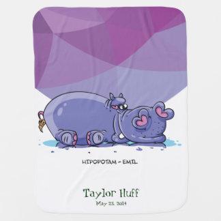 Funny Cute Cartoon Hippo Swaddle Blanket