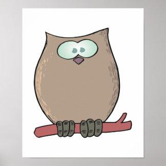 funny cute cartoon owl posters