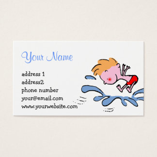 funny cute cartoon splish splash business card