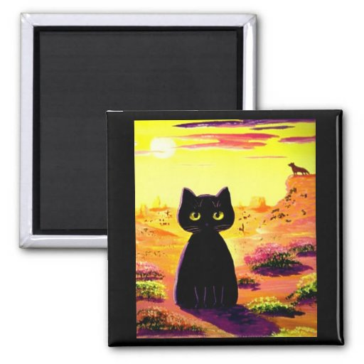 Funny Cute Cat Desert Colorful Sunset Creationarts Magnet