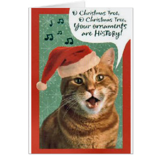 Funny Cute Cat Kitten Ornament Song Christmas Card