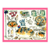 Funny, cute cat kitten postcards