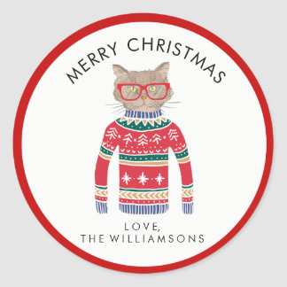 Funny Cute Cat Wearing Ugly Christmas Sweater Classic Round Sticker