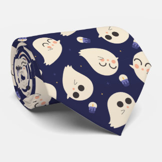 Funny cute chibi Halloween ghosts and candles Tie