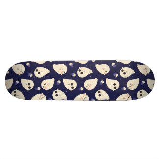 Funny cute chibi Halloween ghosts navy blue Skateboard