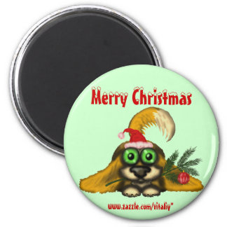 Funny cute Christmas dog magnet design