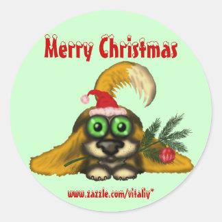 Funny cute Christmas dog sticker design