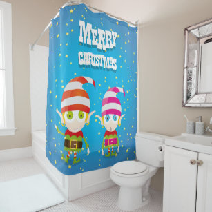 Funny Cute Christmas Elf Shower Curtain