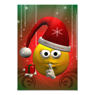 Funny, cute christmas smiley 3.5x5 paper invitation card