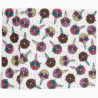 Funny Cute Colorful Unicorn Donut with Sunglasses 3 Ring Binder