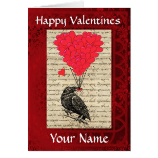 Funny cute crow bird valentines day card