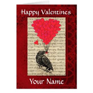 Funny cute crow bird valentines day card
