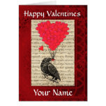 Funny cute crow bird valentines day greeting card