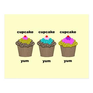 funny cute cupcakes postcard