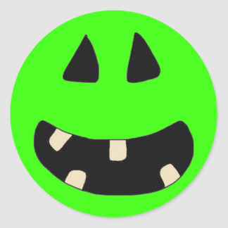 Funny Cute Customizable Halloween Pumpkin Face Ts Round Stickers