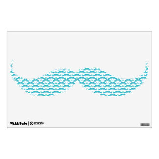 Funny cute cyan mustaches pattern wall decal