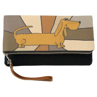 Funny Cute Dachshund Dog Abstract Art Clutch Bag